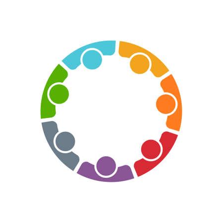 Equipo de siete personas. Concepto de grupo de personas que cumplen la colaboración y la gran obra.