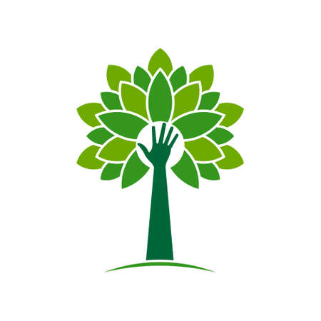natural energy: Ecological hand tree with leave graphic design