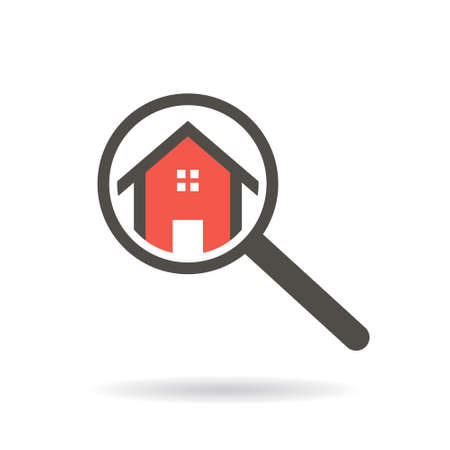 Real estate search of a house with magnifying glass