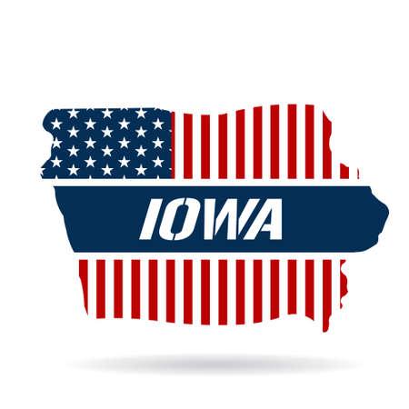 iowa: Iowa patriotic map. Vector graphic design illustration