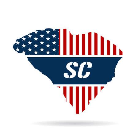continente americano: Carolina del Sur mapa pattic. Vector de ilustración, diseño gráfico Vectores