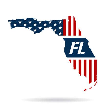 united states flag: Florida patriotic map. Vector graphic design illustration