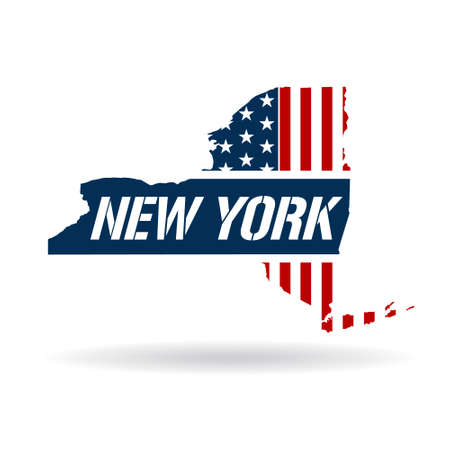 new york map: New York patriotic map. Vector graphic design illustration