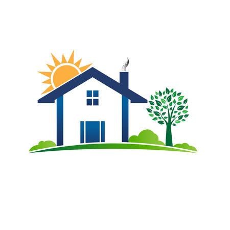 house logo: House Cabin Resort logo. Vector graphic illustration Illustration