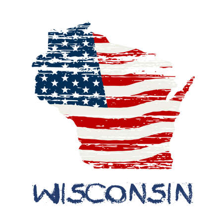wisconsin flag: American flag in wisconsin map. Vector grunge style Illustration