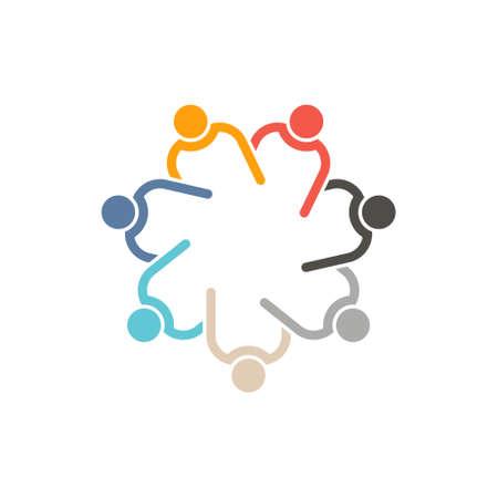 팀웍 7 원 interlaced.Concept 연결 된 사람들의 그룹, 서로 돕는. 벡터 아이콘