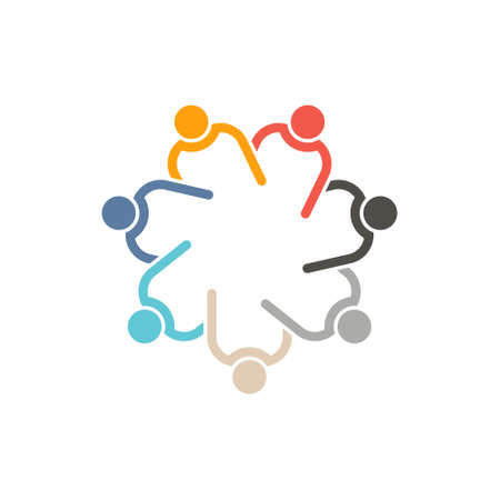 Teamwork 7 circle interlaced.Concept group of connected people , helping each other.Vector icon Illusztráció