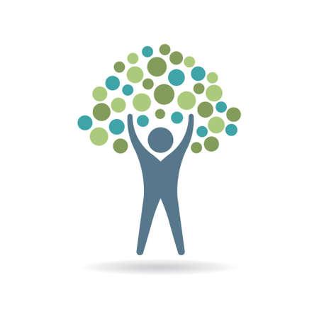 People Tree icon cercles. Eco logo de vie. Vector illustration de conception graphique