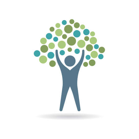 Personas círculos icono del árbol. logotipo de vida ecológica. Vector de ilustración, diseño gráfico