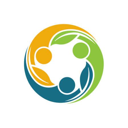 circulo de personas: La gente sana Logo vida del grupo. vida ecológica. Vector de ilustración, diseño gráfico