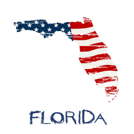 miami south beach: American flag in Florida map. Vector grunge style