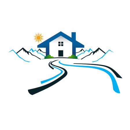 hospedaje: Casa en las montañas con el logotipo de la carretera. Vector de diseño gráfico