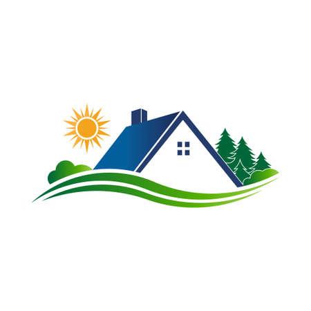logo batiment: Maison pays escapade logo. Vector design graphique