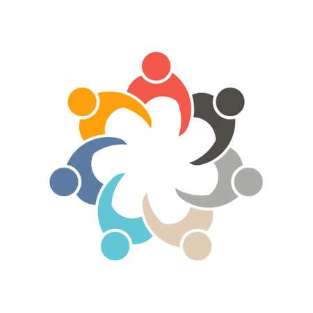 socializando: Las personas que socializan en el cumplimiento de 7 logotipo. Vector de dise�o gr�fico