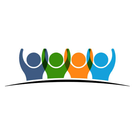 team victory: Four people logo holding hands. Concept of Group of People, happy team, victory