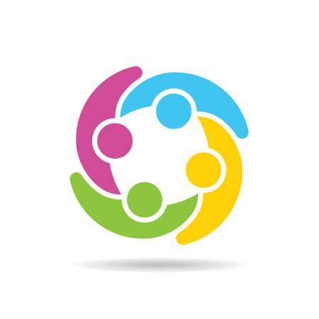 group network: People Group Social Network Logo. Vector graphic design illustration Illustration