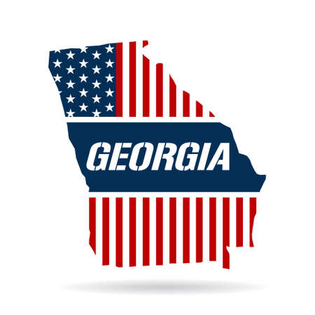 georgia flag: Georgia patriotic map. Vector graphic design illustration Illustration