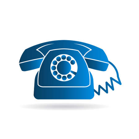 dialplate: Retro rotary old telephone logo. Vector graphic design