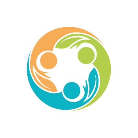 manos logo: Las personas sanas de vida Manos logotipo. Eco red social de amigos. Vector de ilustración, diseño gráfico