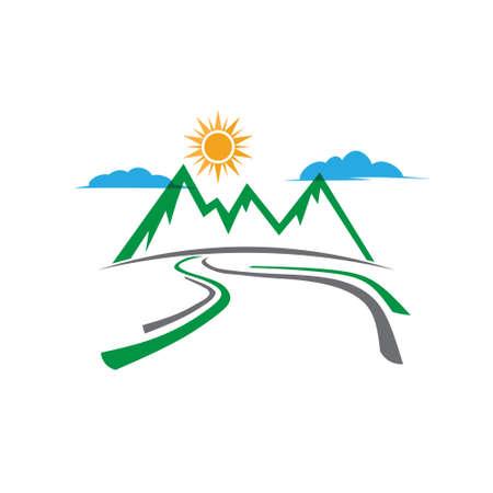 turismo: logotipo de camino rural de montaña. Vector de diseño gráfico