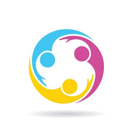 Logotipo de gente amable red social Grupo. Vector de ilustración, diseño gráfico
