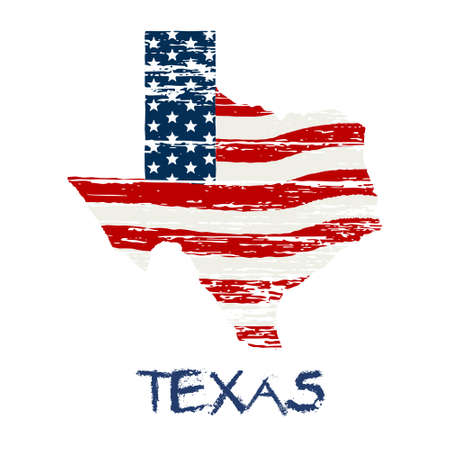 American flag in Texas map. Vector grunge style Vettoriali