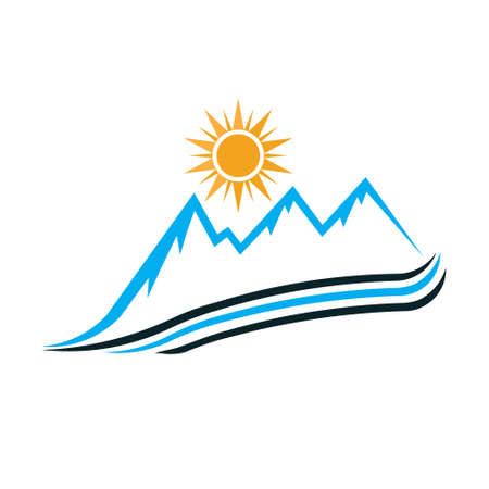 Sunny Mountain way logo. Vector graphic design