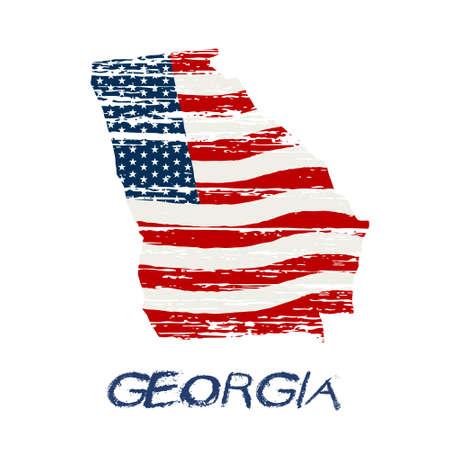 atlanta: American flag in Georgia map. Vector grunge style