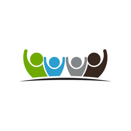 four friends: Teamwork Four Friends  logo image. Concept of Group of People, happy team, victory
