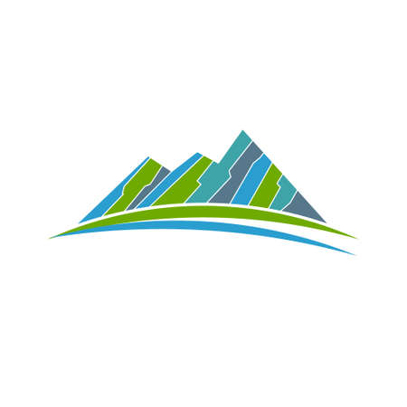 green road: Green mountains and road . Vector graphic design