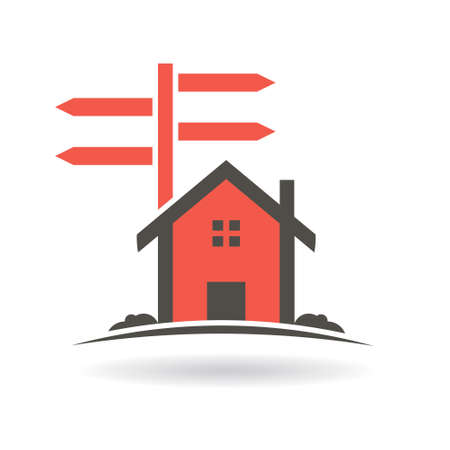 guide: House with guide posts for sale . Vector graphic design