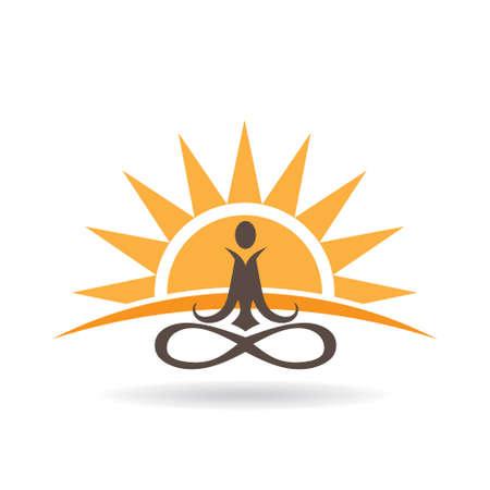 Yoga sunset meditation . Vector graphic design