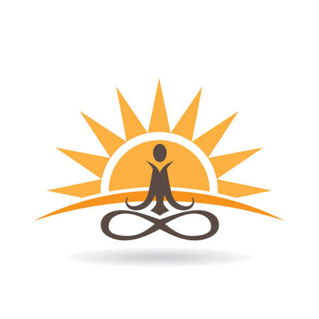 yoga sunset: Yoga sunset meditation . Vector graphic design