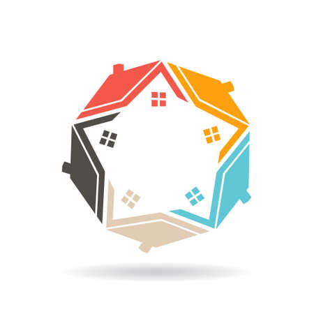 Real Estate Houses Set . Vector graphic design