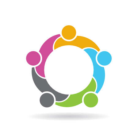 interlaced: Teamwork social network . Vector graphic design