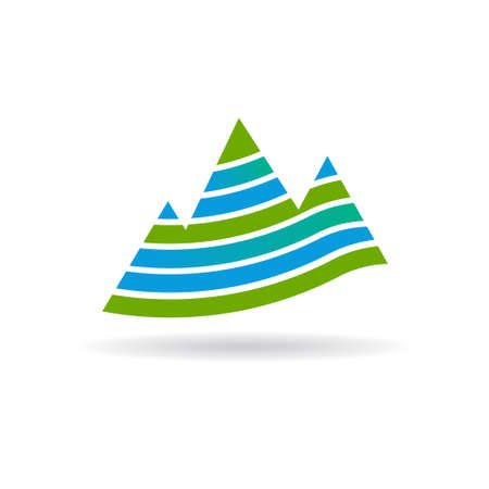 summit: Mountains with stripes . Vector graphic design Illustration