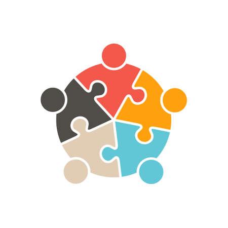 teamwork people: Teamwork People five puzzle pieces. Vector graphic design illustration
