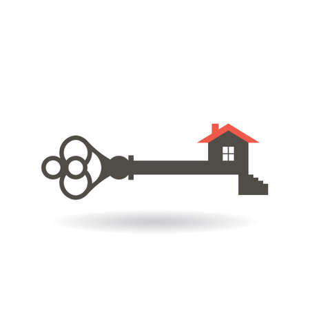 house for sale: Key to access your house logo. Vector graphic design