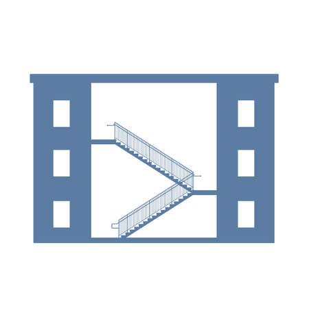 descend: Stairs between buildings. Vector graphic illustration