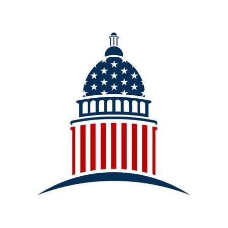 미국 국회 의사당. 벡터 그래픽 디자인 일러스트