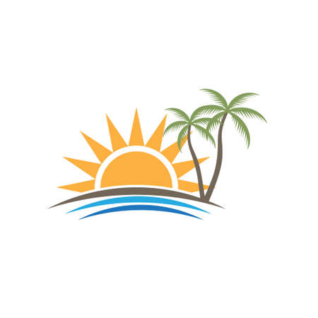 beach sunset: Sunset Tropical Beach . Vector graphic design