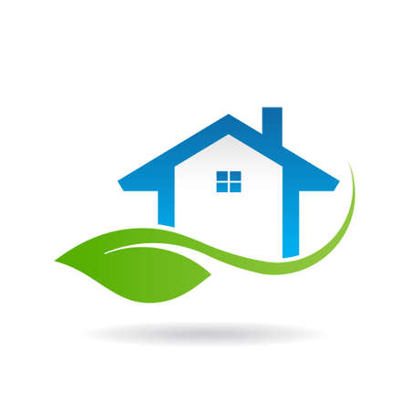 resorts: Eco friendly house . Vector graphic design