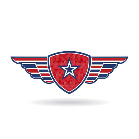 Star shield with wings . Vector graphic design