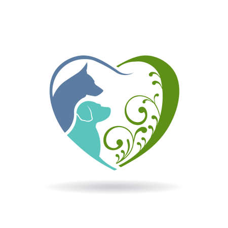Dog love heart icon. Vector graphic design Çizim