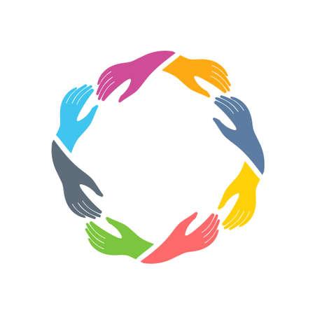 circulo de personas: Red social del icono del grupo de las manos. Vector de diseño gráfico