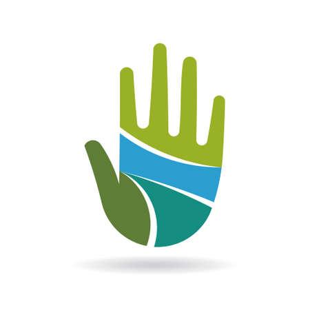 simbolo paz: icono de la mano feliz. Vector de diseño gráfico Vectores