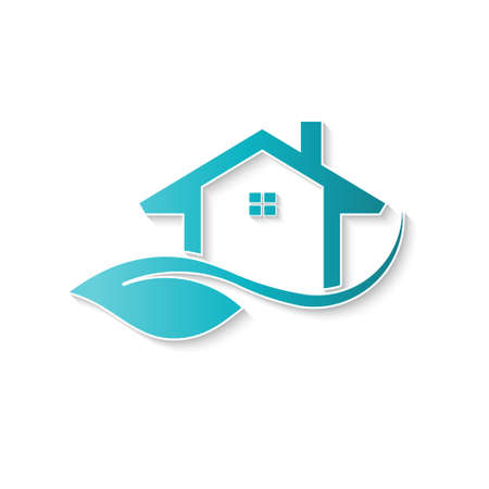 Eco logotipo de la casa de amigos. Vector de diseño gráfico