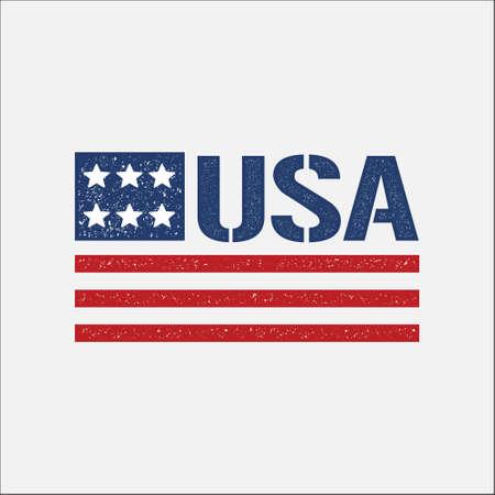 insignia: 4 º de july pattic vendimia bandera. Vector de diseño gráfico