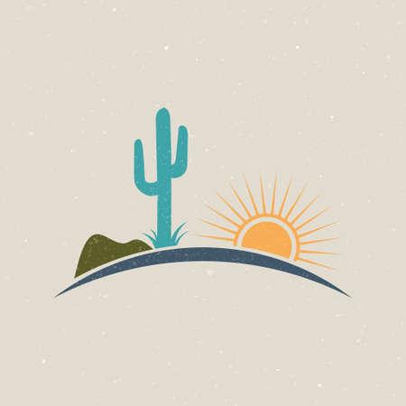Desert illustration logo vintage style. Vectoir graphic design 矢量图像
