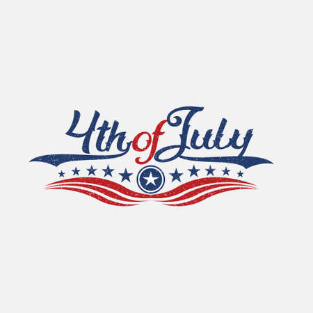 Vintage Fourth of July Independence Day . Vector graphic illustration